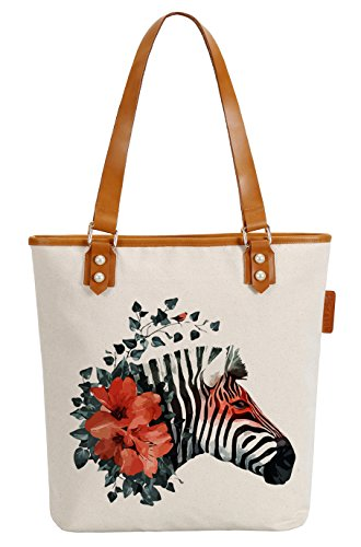 So'each Women's Cute Flower Zebra Canvas Tote Pearly Top Handle Shoulder Bag