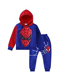 Nine Minow 2Pcs Boys Spider-Man Pullover Hoodies+Pants Kids Clothing