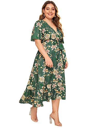 Milumia Plus Size Short Sleeve Wrap V Neck Belted High Waist Maxi Dress