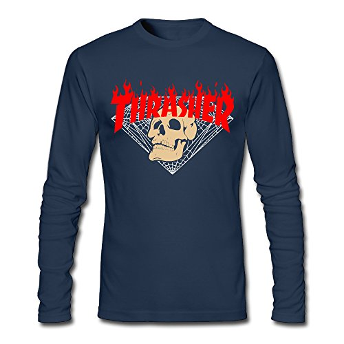 Liying Men's Thrasher Flame Skateboard Logo Long Sleeve T-shirt Navy XXL -