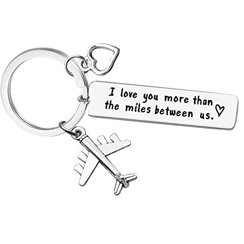 Couple Keychain, I Love You More Than The Miles Between Us Long Distance Relationship Gift Gift for Boyfriend Girlfriend Brithday Valentines Gift Personalized Couples Jewelry Going Away Gift Keychain (Best Valentine Gift For Long Distance Boyfriend)