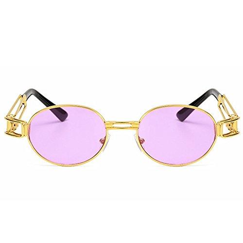 la Blue Moda Classic Sol Gafas de Metal Punk de Retro Gold Color Lens Purple Lens Punk Marco Steam Gold Frame Sakuldes Redondo Sol de Gafas Frame qItRtw