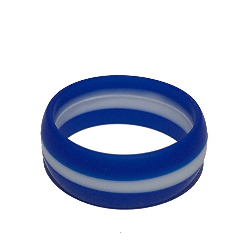 Tough Love Rings - STRIPED BLUE/WHITE - Thick Band - Size 11 (Striped Wedding Band)