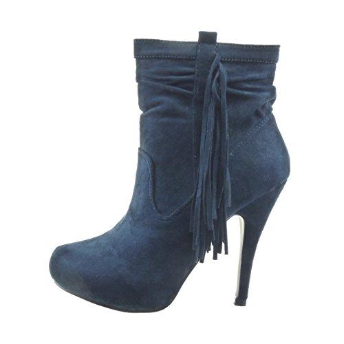 Sopily - Scarpe da Moda Stivaletti - Scarponcini zeppe alla caviglia donna frange zip Tacco Stiletto tacco alto 12 CM - Blu