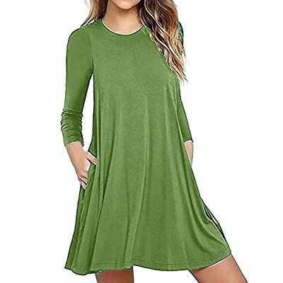 WANQUIY T-Shirt Dresses Women Long Sleeve Loose Plain Maxi Dresses Casual Long Dress with Pockets
