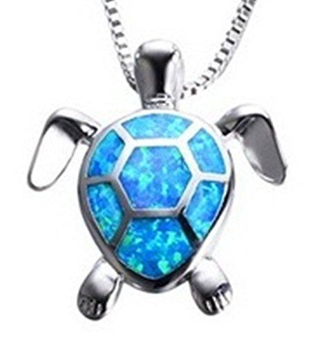 Fortonatori Blue Opal Necklace Turtle Smart 925 Pendant Necklace 16