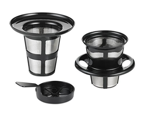 Java Concepts 15901 JC-15901 Reusable Pod Compatible for All Keurig K-Cup Brewers, Kettle or iCoffee. (Includes Pour-Over + Tea Infuser + Steeping Cover/Dri, small Black, Silver