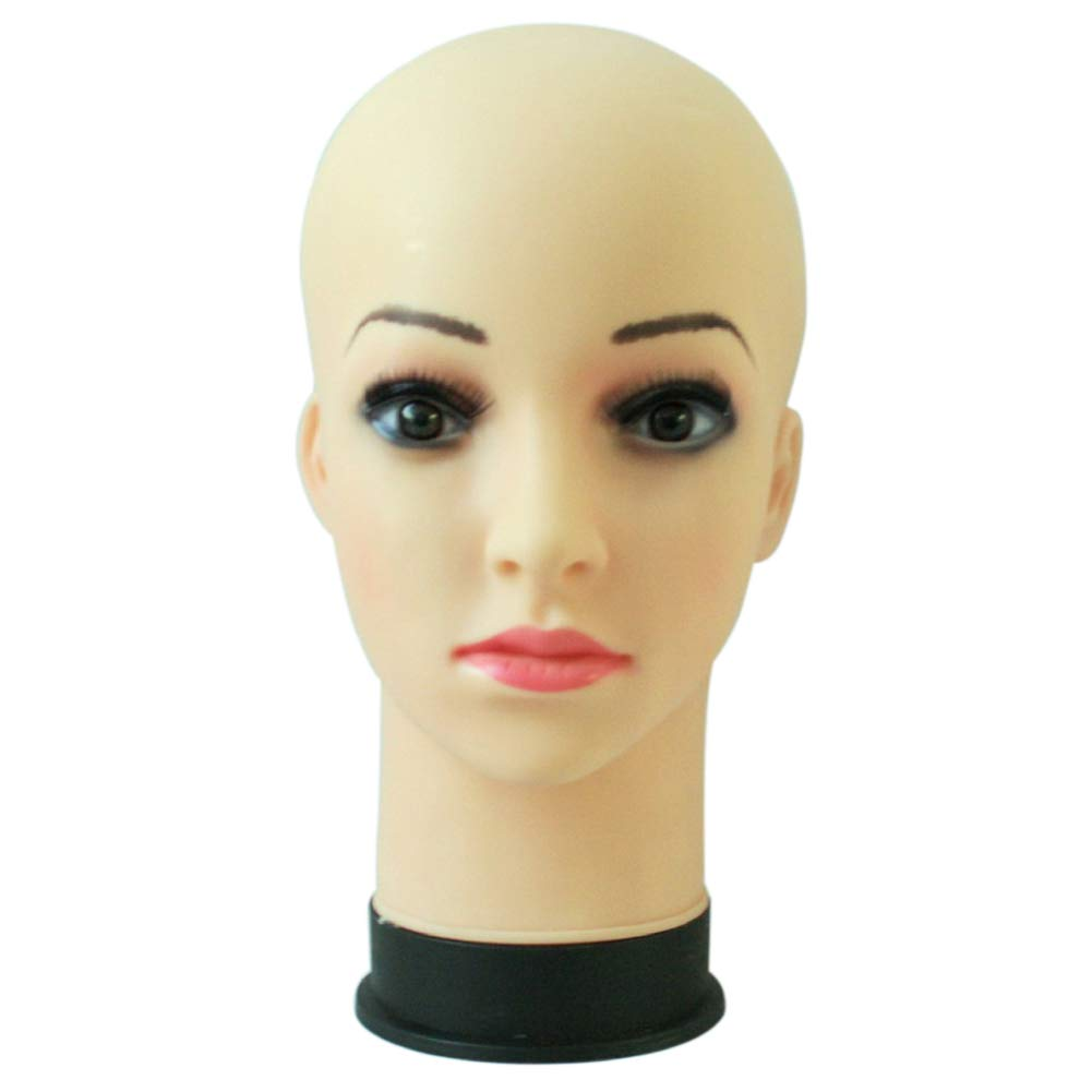 YHCWJZP Mannequin Head for Wigs,Training Head,PVC Head Mannequin Mainkin Head for Wig Making Drying Styling Stand Cap Display Holder 1#