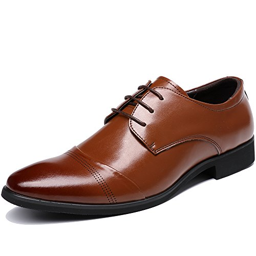OUOUVALLEY Lace Up Patent Leather Oxford Dress Shoes Formal Wedding Shoes 8808 (8.5 D(M) US, Brown)