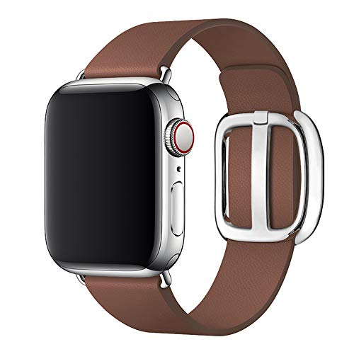 Genuine Leather Replacement Band - SIRUIBO Band for Apple Watch 42mm 44mm, Genuine Leather Modern Buckle Replacement Strap Wristband Compatible with iWatch Series 1/2/ 3 (42mm), iWatch Series 4 (44mm)
