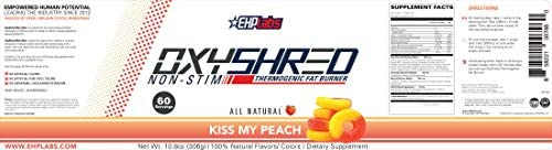 EHPLabs OxyShred |Non Stim| Thermogenic Fat Burner Boost Metabolism, Destroy Stubborn Fat Cells (60 Servings) (Peach) 4
