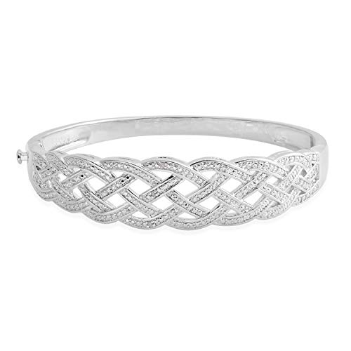 Shop LC Delivering Joy Diamond Silvertone Weaved Bangle Cuff Bracelet Jewelry Gift for Women 7