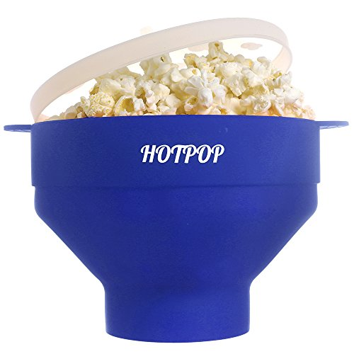 HOTPOP Collapsible Microwave Popcorn Popper with handles (blue)