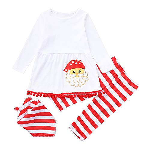 Fheaven (TM) Baby Girls' 3PCS Outfits Set Christmas Santa Costume Long Sleeve Print Dresses +Striped Pants+Scarf (6-12 Months, White) -