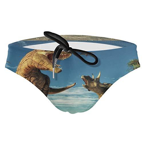 Men's VDinosaurs Playing On The Jungle Palm Trees Bikini Trunk Swimming Triangle Shorts Body Swimwear Briefs Swimsuit Black]()