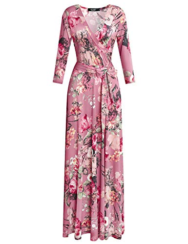 DUYOHC Long Dress for Women, Womens Bohemian V Neck 3/4 Sleeve Stretchy Summer Casual Dress Women's Floral Printed Faux Wrap Maxi Long Dresses with Belt M Medium Pink