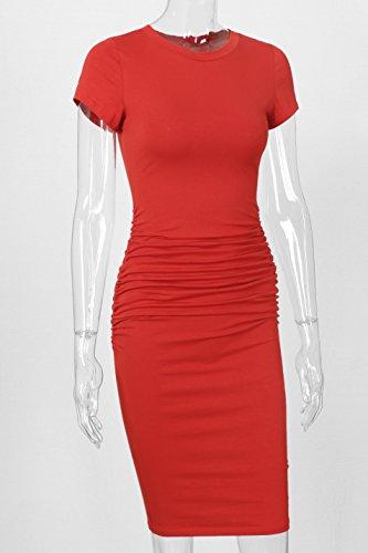 Dress Rust Missufe Sundress Women's Casual Sheath Bodycon Ruched Midi PHwTxAq0H