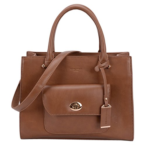 Crossbody Women's Handle Tote Top Leather Purse DAVIDJONES Faux Brown aB1qwznWF