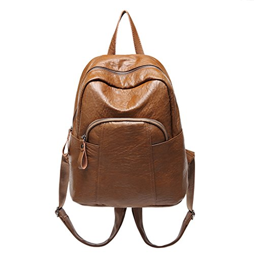 Zohong Vintage Backpack Soft PU Bag School School Travel theft for Brown Mutipocket Women Anti Leather Brown zWzfrvwq