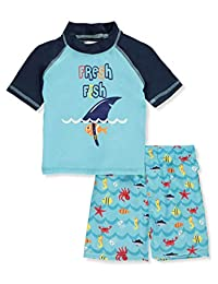 Sweet & Soft Baby Boys' Fresh Fish Rash Guard 2-Piece Short Set Outfit