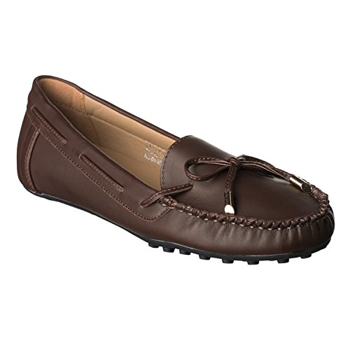 Riverberry Women's Layla Tie Front Mocassin Loafers, Brown PU, 8.5