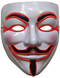 Men Light Up V for Vendetta Guy Fawkes LED Anonymous Rave Mask EL Wire for Hallowmas Prity