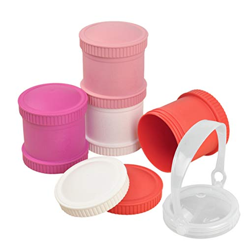 Re-Play Made in The USA 9 Piece Stackable Food and Snack Storage Containers for Babies, Toddlers and Kids of All Ages - Red, Bright Pink, Blush, White (Valentine+)