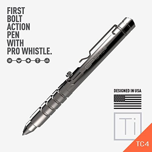 GP 1945 Bolt Action Plus Pen - Machined Titanium, Multi-Tone Whistle, Glass Breaker Integrated. USA.