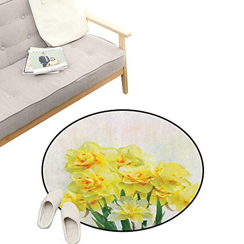 - Daffodil Custom Round Carpet ,Digital Watercolors Paint of Daffodils Bouquet Called Jonquils in England Lily, Dorm Room Bedroom Home Decorative 39