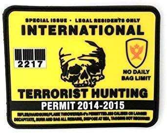 Terrorismo Internacional Licencia de Caza de PVC Parche de Airsoft: Amazon.es: Deportes y aire libre