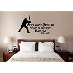 Baseball Babe Ruth Quote Vinyl Decal Wall Art Words Sticker Lettering Sports Décor 30X16