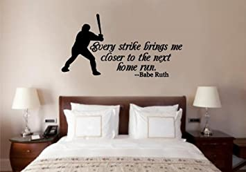 baseball babe ruth quote vinyl decal wall art words sticker lettering sports dcor 30x16 - Wall Art Design Decals