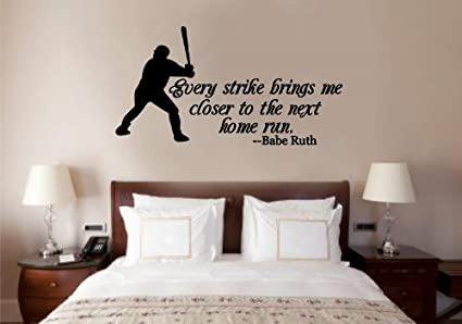 Baseball Babe Ruth Quote Vinyl Decal Wall Art Words Sticker Lettering Sports Décor 30X16 & Amazon.com: Baseball Babe Ruth Quote Vinyl Decal Wall Art Words ...