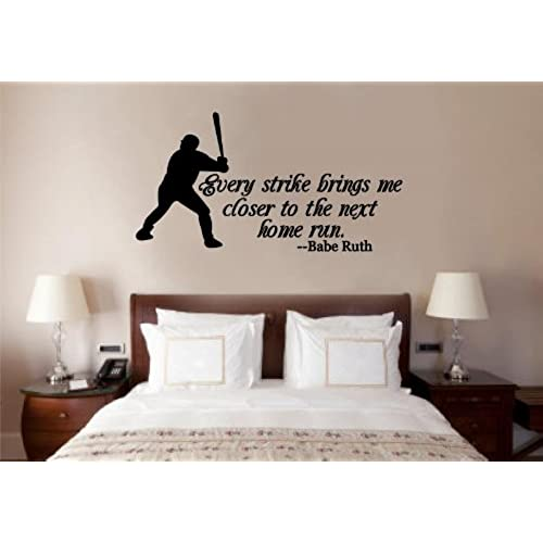 Baseball Babe Ruth Quote Vinyl Decal Wall Art Words Sticker Lettering Sports Decor 30X16