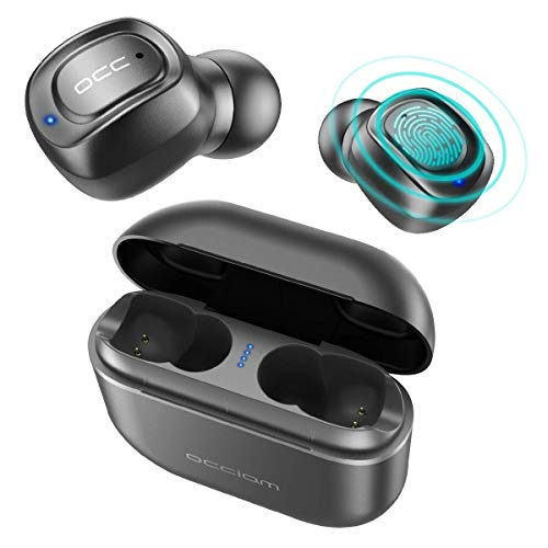 Bluetooth Headphones 5.0, Occiam Touch Control True Wireless Earbuds 72H Playtime Binaural in-Ear IPX7 Sweatproof Sport Headsets with Built-in Mic Stereo Sound & 2200mAh Charging Case