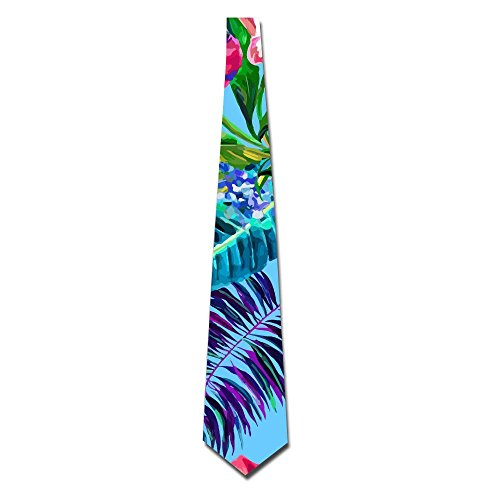 Island Style Floral Summer Beach Surf With Tropical Leaf Mens Necktie Classic Silk Tie Woven Jacquard Neck Ties