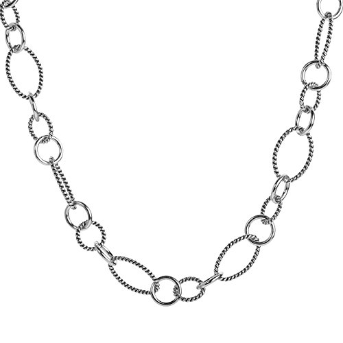 Carolyn Pollack Sterling Silver Oval & Round Link 17 Inch Necklace