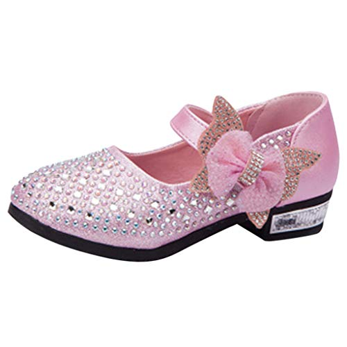 (YOcheerful Girls Glitter Mary Jane Princess Shoes Crystal Sequins Party Shoes Cosplay Performance Shoes Sequins Dress Shoes Low Heeled)