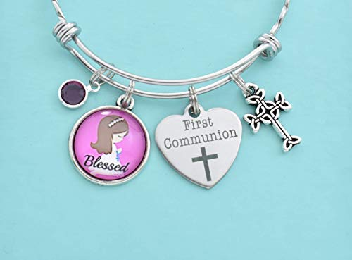 First Communion Bangle Bracelet in Stainless Steel with Scrolled Cross Charm and Swarovski Crystal. Light Brown Hair. Blessed. Cross Jewelry