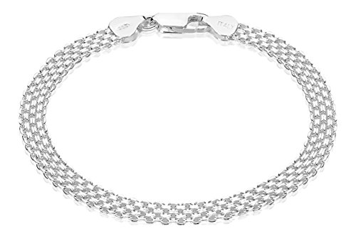 Bismark Silver Bracelet (925 Sterling Silver Nickel-Free 5.5mm Bismark Chain Bracelet Made in Italy, 9