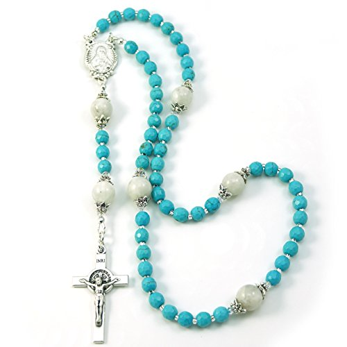 (Silver Inches Catholic Prayer Beads Saint Benedict Turquoise Moonstone Catholic Rosary with Swarovski Beads Blessed with Anointing Oil )