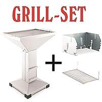 Säulengrill Thüros Komplettset Grill-Set groß silber Pillar Balkon Camping ✔ eckig ✔ stehend grillen ✔ Grillen mit Holzkohle