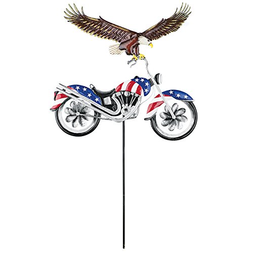 Collections Etc Eagle on Patriotic Motorcycle Garden Spinner Yard Stake Americana Decoration by Collections Etc