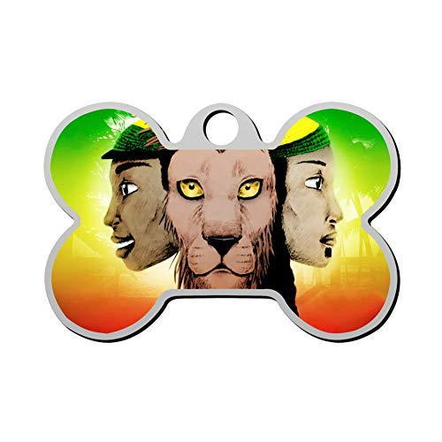 BSARRE Personalized Pet ID Tags for Dogs & Cats Jamaica Lion Double Sided Bone Dog Tag (All-star-sonnenbrille)