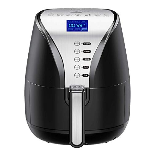 Habor Hot Air Fryer, 4QT Oilless 7-in-1 Digital Air Fryer Oven Larger Oilless Cooker, Auto Off, Nonstick Basket, Dishwasher Safe, LCD Screen & Convenient Buttons, BPA Free, Cookbook Included, 1500W