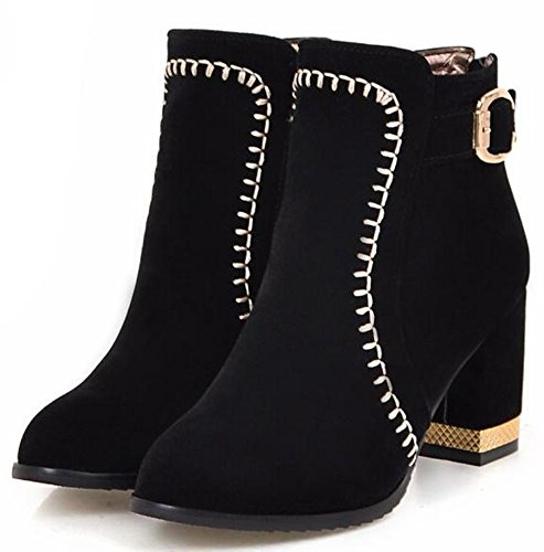IDIFU Womens Fashion Mid Chunky Heels Faux Suede Ankle Boots With Back Zipper Black booCxAJLrQ