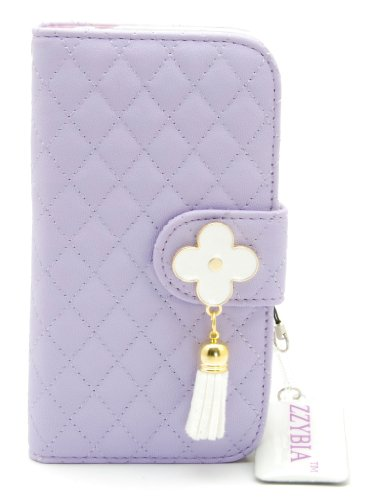 ZZYBIA® NOTE III 3 QF w Purple Leatherette Stand Case Card Holder Wallet for Samsung Galaxy Note III 3 N9000 N9005