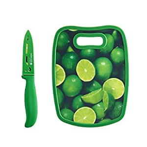 "Sabatier Parer Knife and Non Slip Board, 3.5"", Green"