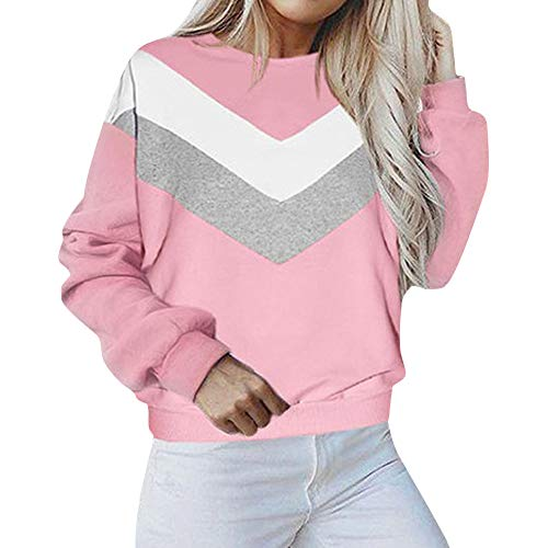 Jacket Hoodie Hooded Patchwork Shirt Long Blouse Pullover Sweater Coat Sleeve Tops Women's Sweatshirt Pink Outwear Crewneck 01xUUA