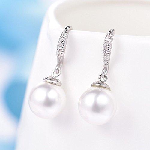 wassana Elegant Ladies Girls Round Pearl Topaz Crystal 18K Gold Filled Hook Earrings